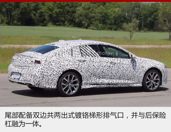 """网通社2017年6月6日报道 全新一代别克君威已经于上海车展正式发布,即将于年内正式上市,其高性能版本GS车型也在研发中。网通社从美国媒体Motor1获悉,全新别克君威GS谍照曝光,新车有望于今年秋季发布,并在动力系统中搭载雪佛兰科迈罗的3.6升V6发动机。   """"GS""""是英文""""Gran Sport""""的首字母缩写,代表运动型。全新别克君威GS将采用别克全新家族式设计,车身整体设计更加低矮,轿跑风格增强。新车前脸有望采用与全新君越相同的飞翼式进气格栅,并搭配矩"""