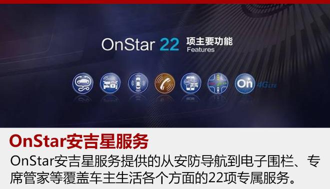 OnStar安吉星智能化服务全新升级――作为上汽通用汽车车联网战略的重要组成,别克品牌已经实现4G LTE WiFi网络连接服务、第十代OnStar安吉星全时在线助理及其手机应用功能在旗下车型的普及。别克车主可享受OnStar安吉星提供的从安防导航到电子围栏、专席管家等覆盖车主生活各个方面的22项专属服务。