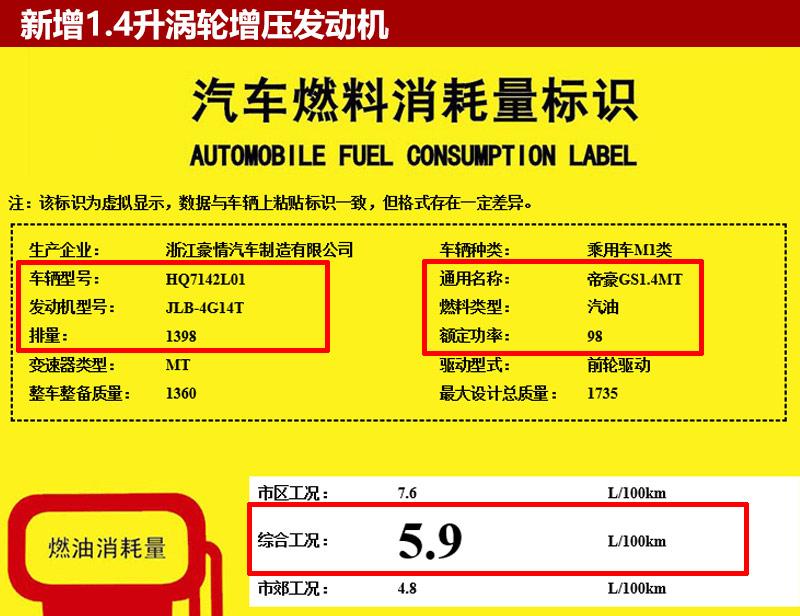 吉利帝豪gs增1.4t发动机 综合油耗5.9升