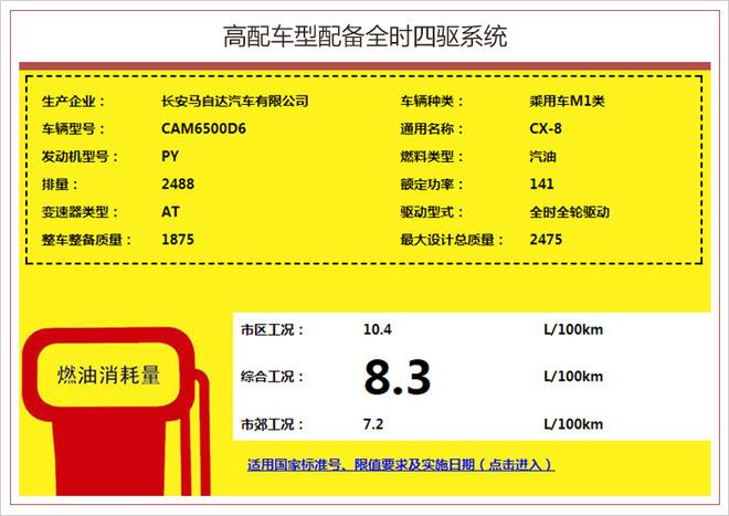 长安马自达CX-8提供2驱/4驱车型 综合油耗7.9升